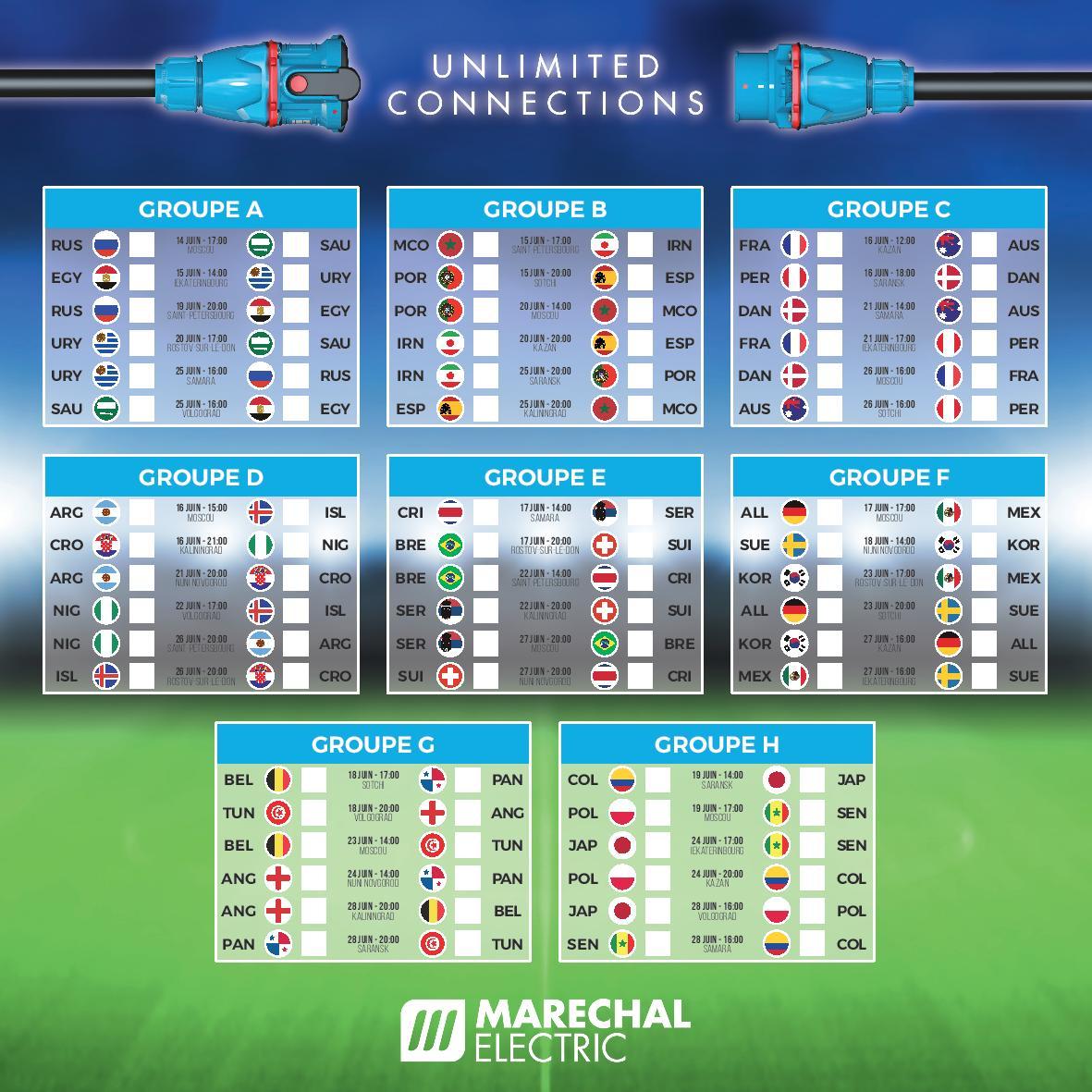 calendrier coupe du monde